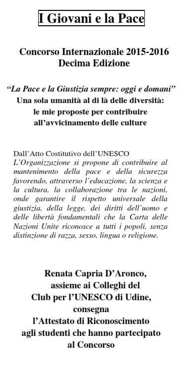 I GIOVANI E LA PACE  2016; UNESCO UDINE
