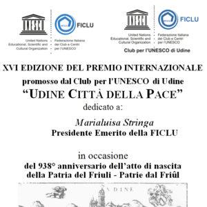 Udine Città della Pace 2016; UNESCO UDINE